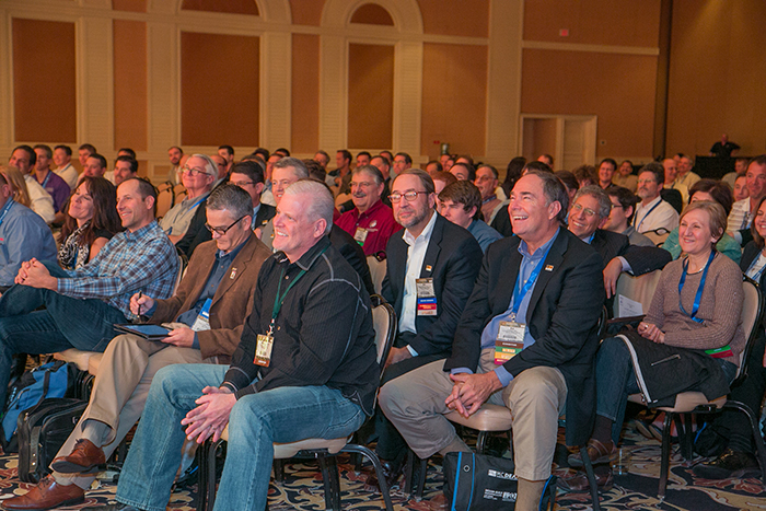 happy crowd at las vegas convention
